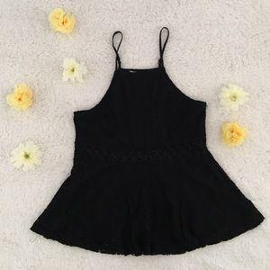 Black lace halter top